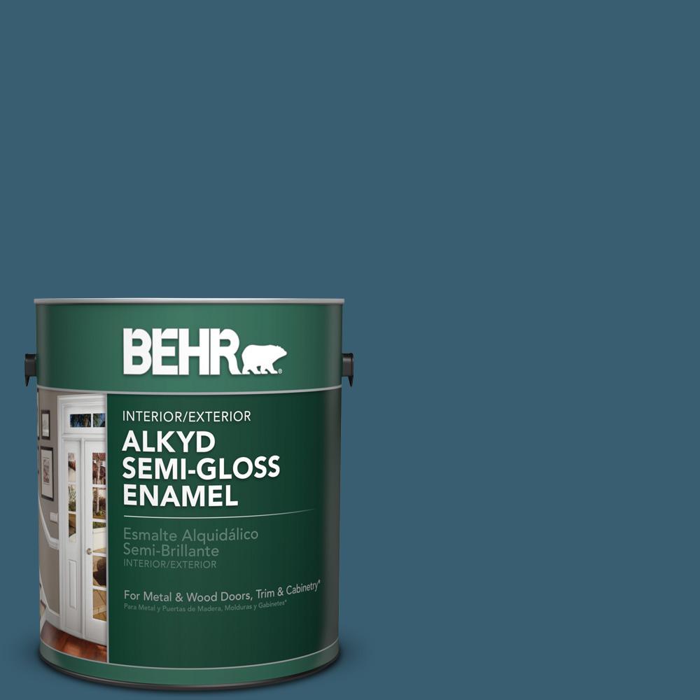 1 gal. #PPU13-18 Bermudan Blue Semi-Gloss Enamel Alkyd Interior/Exterior Paint