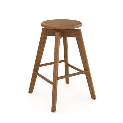 Amalia 25 in. Antique Coffee or Brown Backless Counter Height 360° Swivel Seat Solid Wood Bar Stool