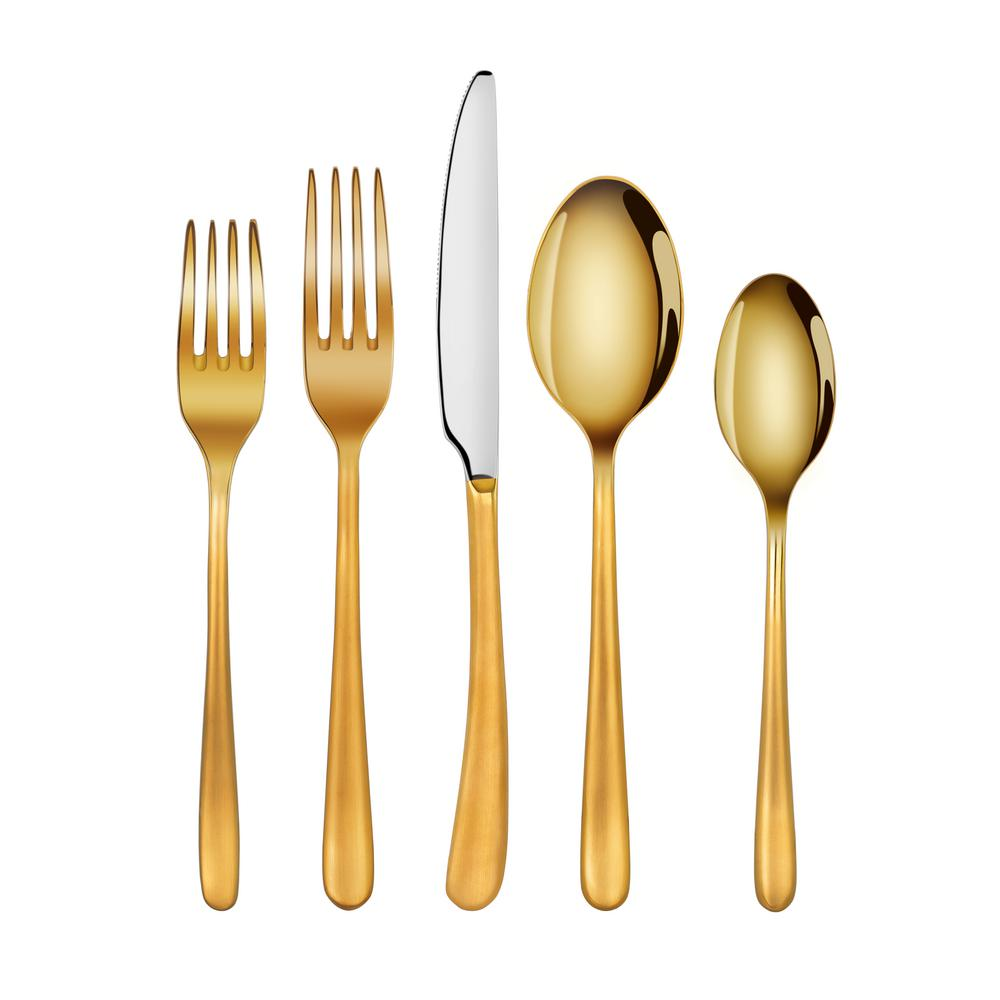 Rain II Forged 18/10 Stainless Steel Flatware 20-Piece Set, Gold Finish,