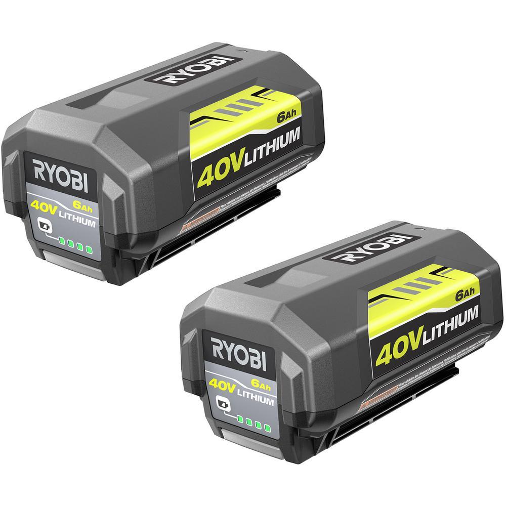 RYOBI 40-Volt Lithium-Ion 6 Ah High Capacity Battery (2-Pack)