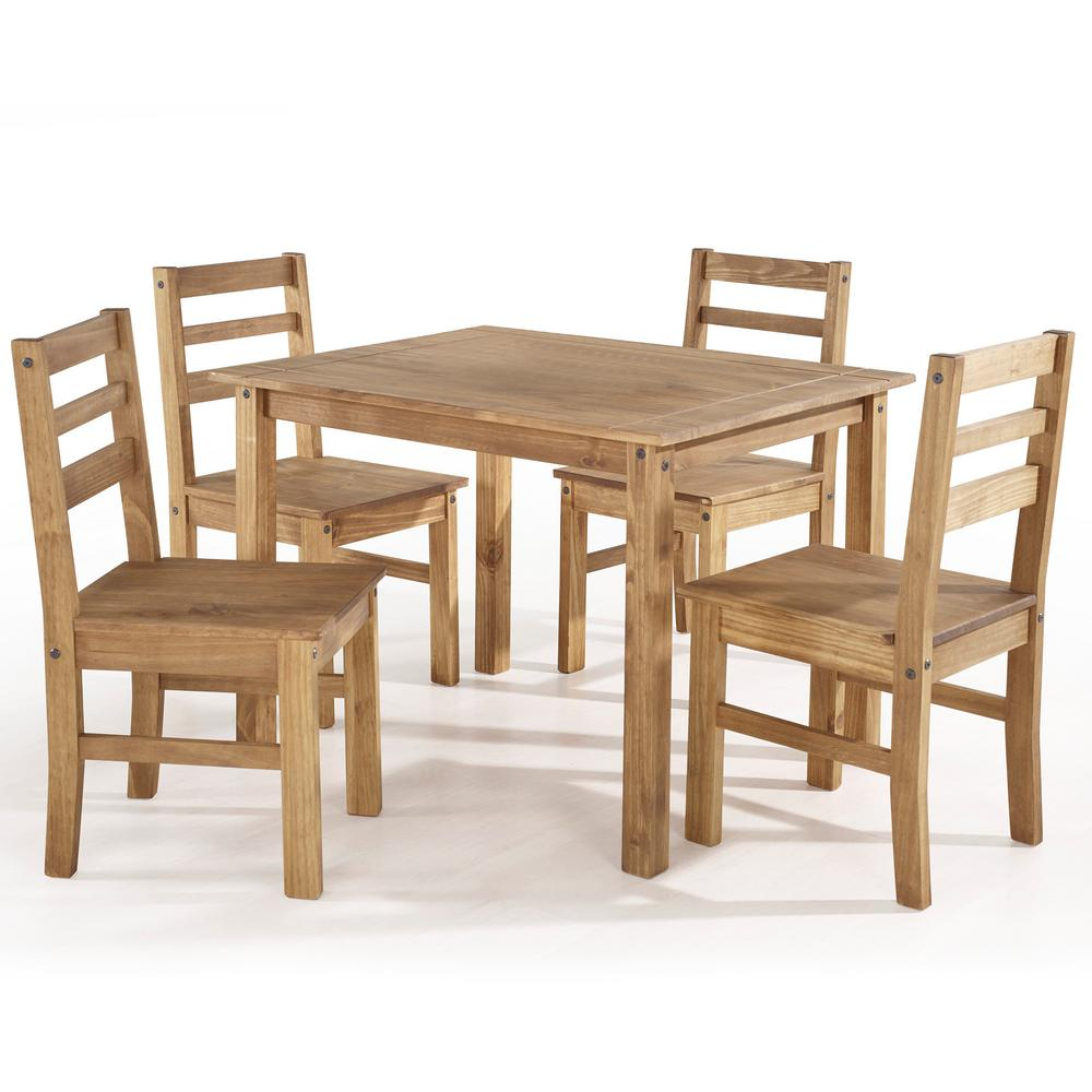 Solid Wood Dining Table 4 Chairs: Manhattan Comfort Maiden 5-Piece Nature Solid Wood Dining