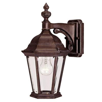 1-Light Bronze Wall Lantern Sconce with Clear Glass
