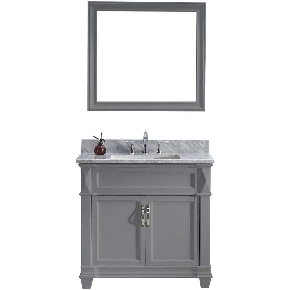 Virtu USA Victoria 36 in. W Bath Vanity in Gray with Marble Vanity Top in White with Square Basin and Mirror