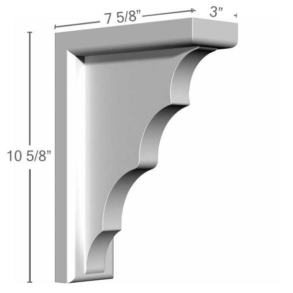 Ekena Millwork 3 In X 7 5 8 In X 10 5 8 In Primed Polyurethane Traditional Bracket Bkt03x07x10tr The Home Depot
