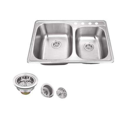 Drop In 33 in. 4-Hole Stainless Steel Double Bowl Kitchen Sink in Brushed Stainless