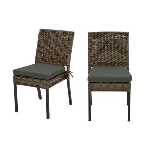Laguna Point Brown 2-Piece Wicker Outdoor Patio Dining Chair with CushionGuard Graphite Dark Gray Cushions