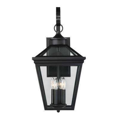 4-Light Black Outdoor Wall Mount Sconce