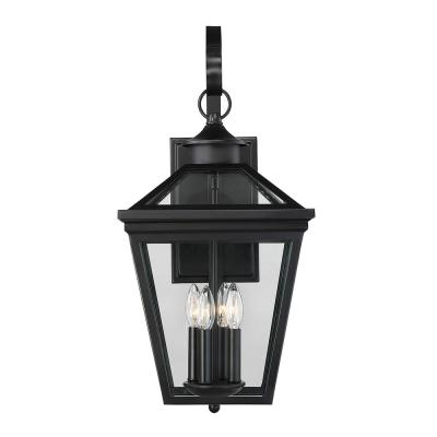 4-Light Black Outdoor Wall Lantern Sconce