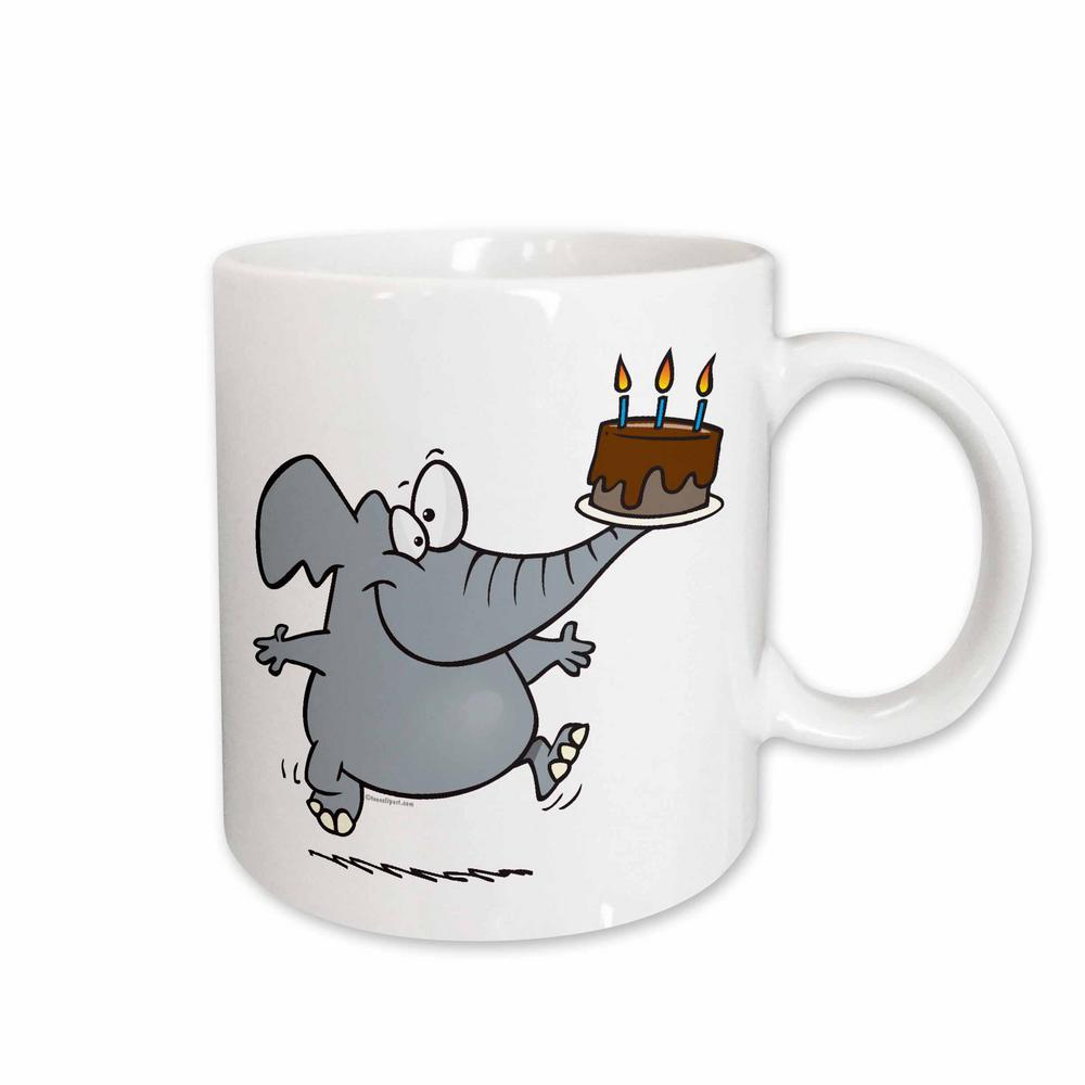 3dRose Dooni Designs Random Toons Cute Elephant With Chocolate Birthday Cake 11 Oz White Ceramic Coffee Cup Mug 103911 1