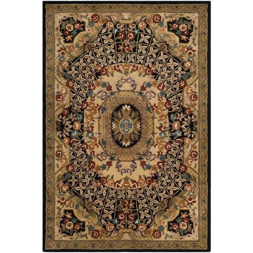 Large Area Rugs Gold: Safavieh Classic Black/Gold 4 Ft. X 6 Ft. Area Rug-CL304A