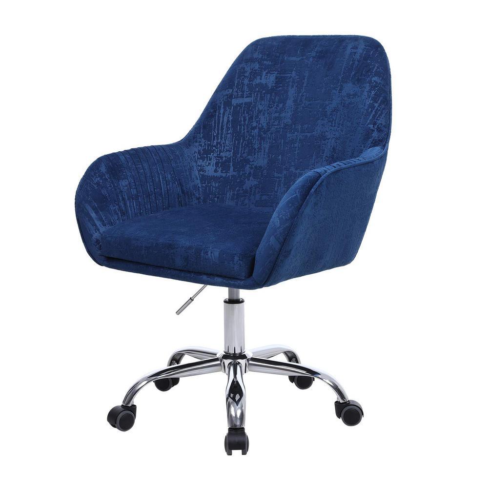 Blue Velvet Swivel with Arm Office Desk Chair Modern Accent Chair