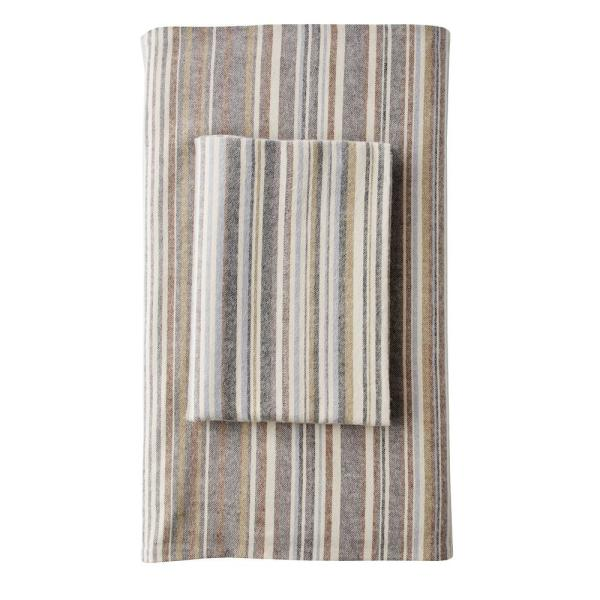 The Company Store Bromley Stripe Taupe Flannel Queen Flat Sheet 50238A-Q-TAUPE