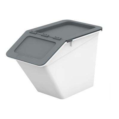 Patented Pelican Series 14 Qt. Stackable and Nestable Storage Box with 2-Stage Lid in Grey (12-Pack)