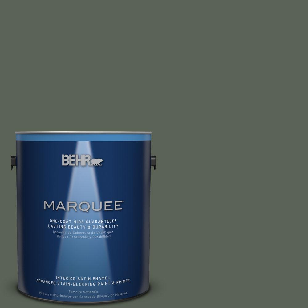 1 gal. #T13-16 Pine Cone Pass Satin Enamel Interior Paint