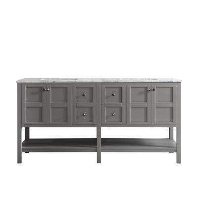 Florence 72 in. W x 22 in. D x 35 in. H Vanity in Grey with Marble Vanity Top in White with Basin