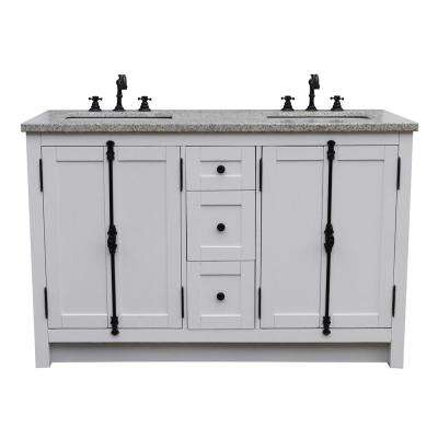 Plantation 55 in. W x 22 in. D Double Bath Vanity in White with Granite Vanity Top in Gray with White Rectangle Basins