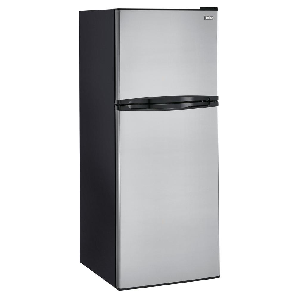 Haier 9.8 cu. ft. Top Freezer Refrigerator in Stainless, ...