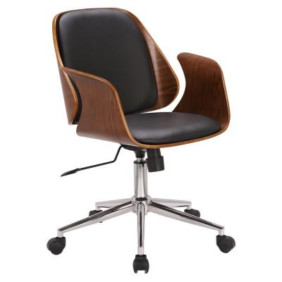 Santiago Black Faux Leather with Walnut Wood Mid-Century Office Chair