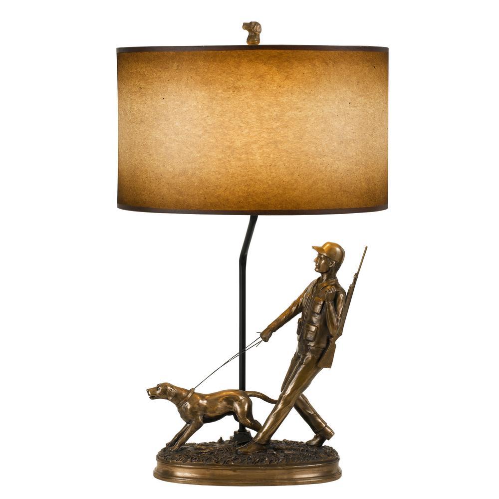 30 in. Resin Table Lamp in Bronze Finish