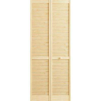 24 in. x 80 in. Louver Pine Unfinished Interior Closet Bi-fold Door