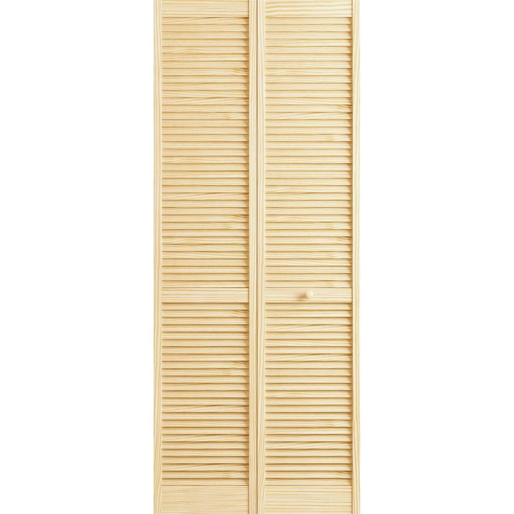 24 in. x 80 in. Louver Pine Unfinished Interior Closet Bi-fold Door