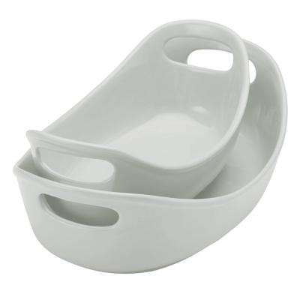 Ceramics 2-Piece Light Sea Salt Gray Bubble and Brown Oval Baker Set