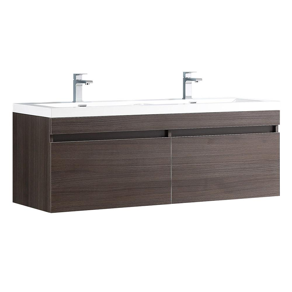Fresca Largo 57 in. Double Vanity in Gray Oak with Acrylic Vanity Top in White with White Basins