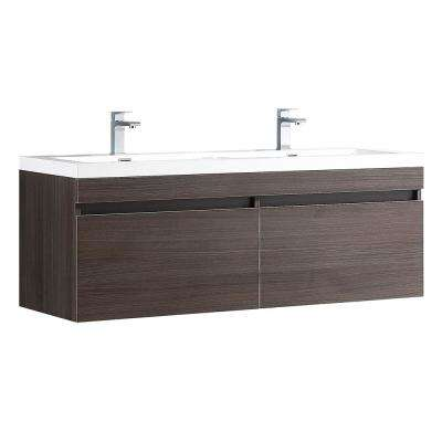 Largo 57 in. Double Vanity in Gray Oak with Acrylic Vanity Top in White with White Basins