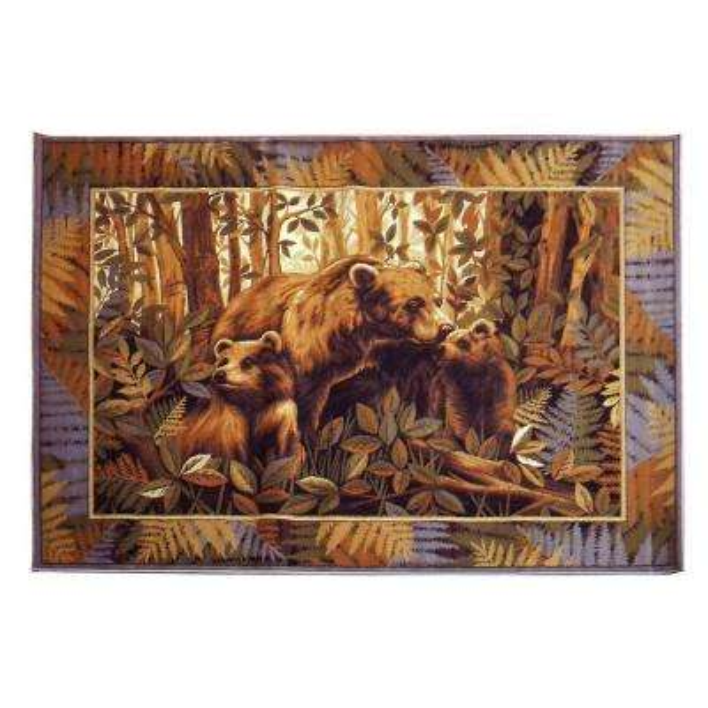 Wilderness Design Bear Family Brown 5 ft. 2 in. x 7 ft. 1.5 in. Indoor Area Rug