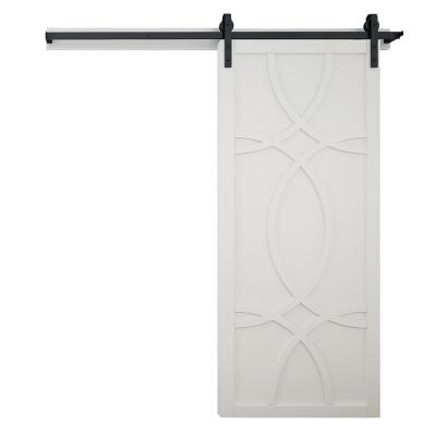 36 in. x 84 in. Hollywood Bright White Wood Sliding Barn Door with Hardware Kit