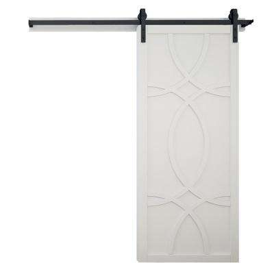 36 in. x 84 in. Hollywood Bright White Wood Barn Door with Sliding Door Hardware Kit