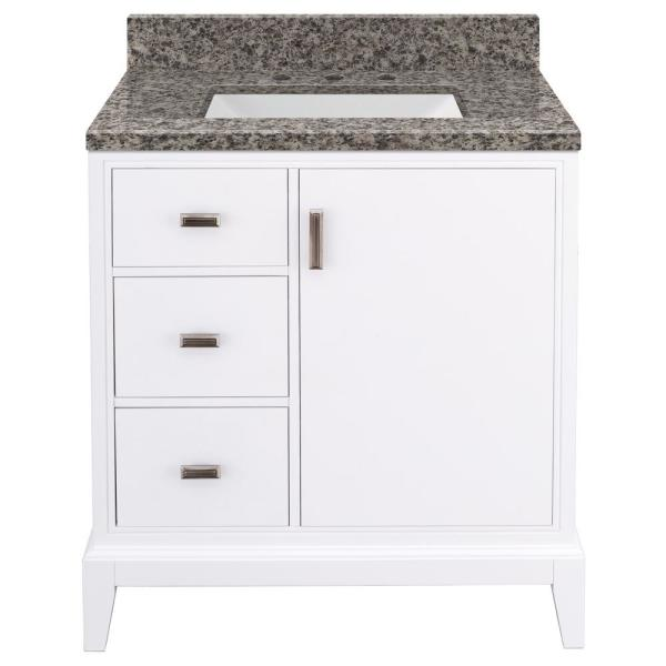 Shaelyn 31 in. W x 22 in. D Bath Vanity in White Left Hand Drawers with Granite Vanity Top in Sircolo with White Sink