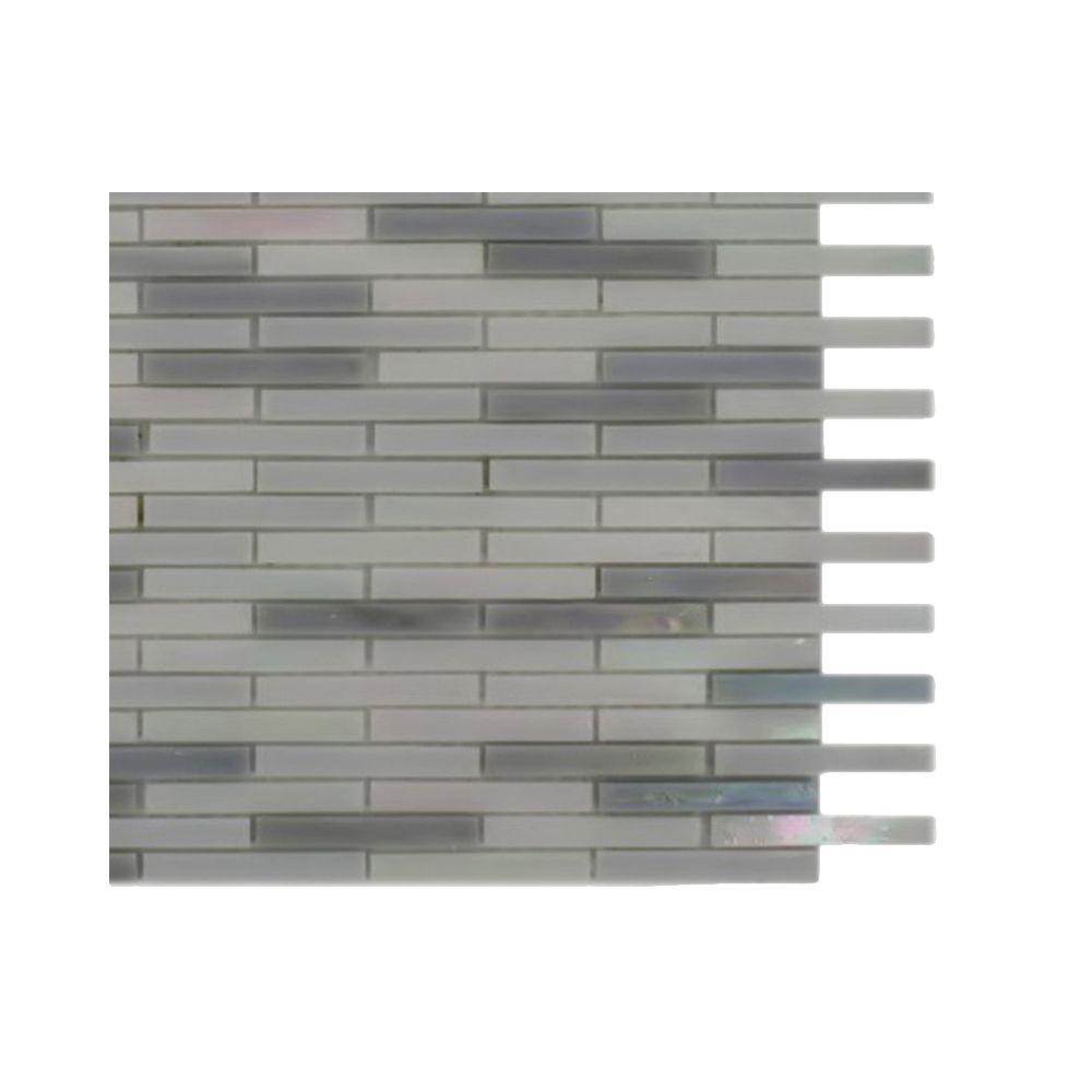 Matchstix Flakesnow Glass Mosaic Floor and Wall Tile - 3 in.