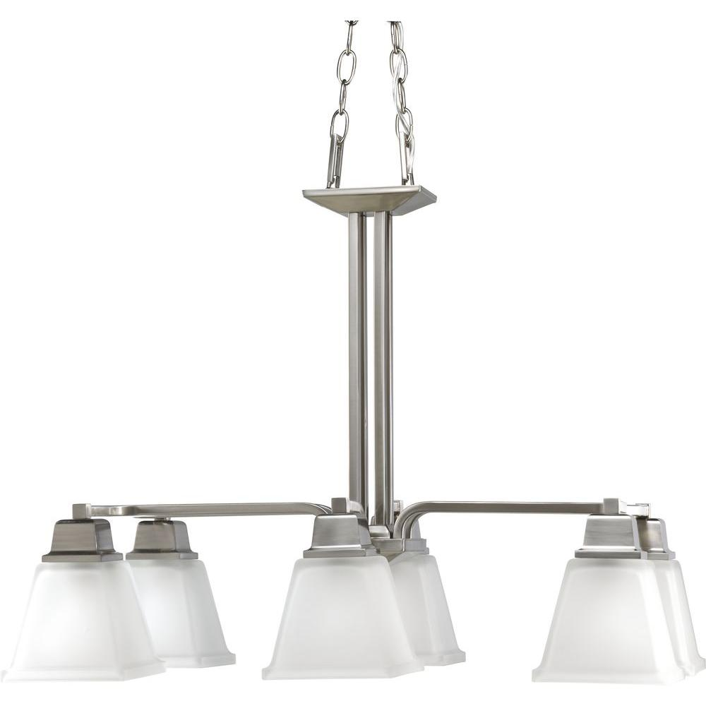 Progress Lighting North Park Collection 6-Light Brushed Nickel Chandelier with Shade with Etched Glass Shade