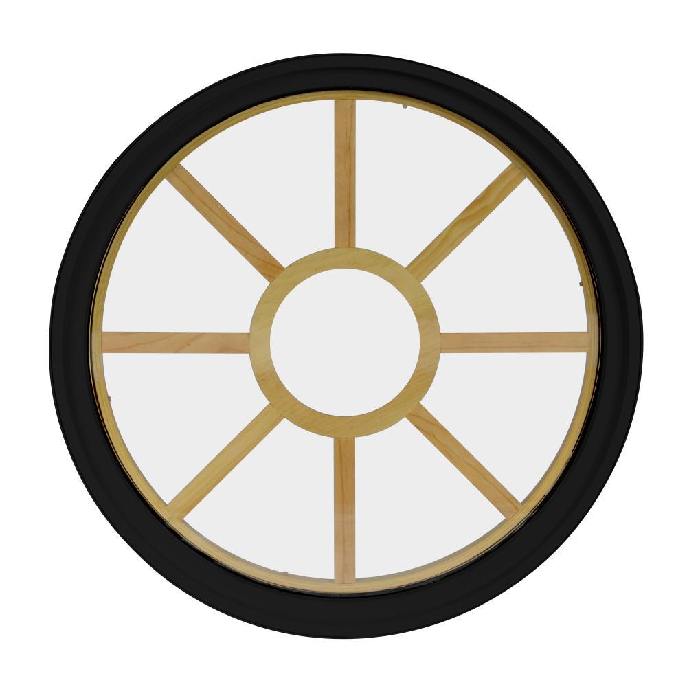 36 in. x 36 in. Round Black 6-9/16 in. Jamb 9-Lite Grille Geometric Aluminum Clad Wood Window