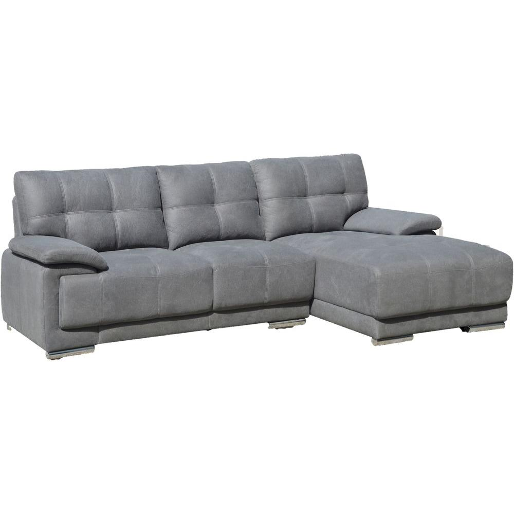 jacob contemporary tufted stitch sectional sofa with right facing chaise grey s0069r 2pc the. Black Bedroom Furniture Sets. Home Design Ideas