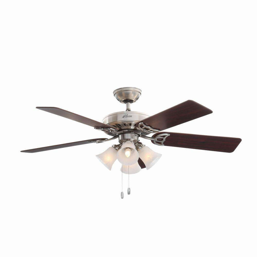 hunter ceiling fan light kit studio series 52 in indoor brushed nickel ceiling 10655
