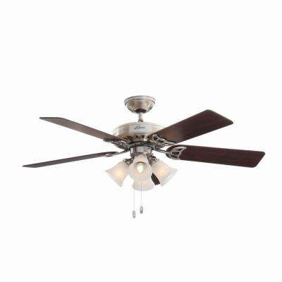 Studio Series 52 in. Indoor Brushed Nickel Ceiling Fan with Light Kit Bundled with Handheld Remote Control