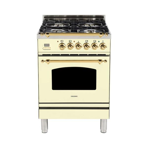 24 in. 2.4 cu. ft. Single Oven Dual Fuel Italian Range with True Convection, 4 Burners, Brass Trim in Antique White