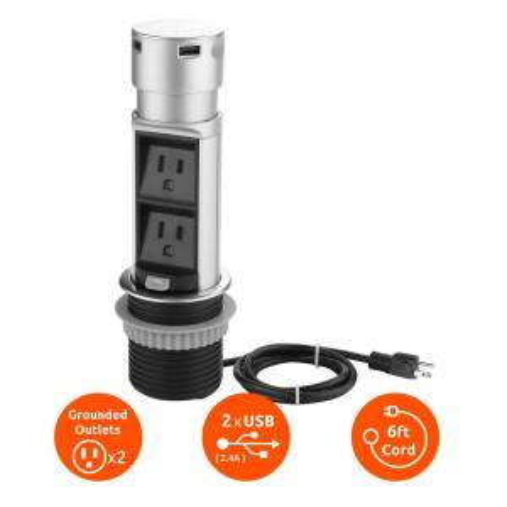 Space Saver Pop Up Outlet, 2 Power Outlets, 2 USB Ports 2.4 Amp, Overload Protection, Splash Resistant