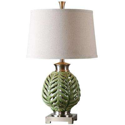 27 in. Crackled Lime Green Table Lamp