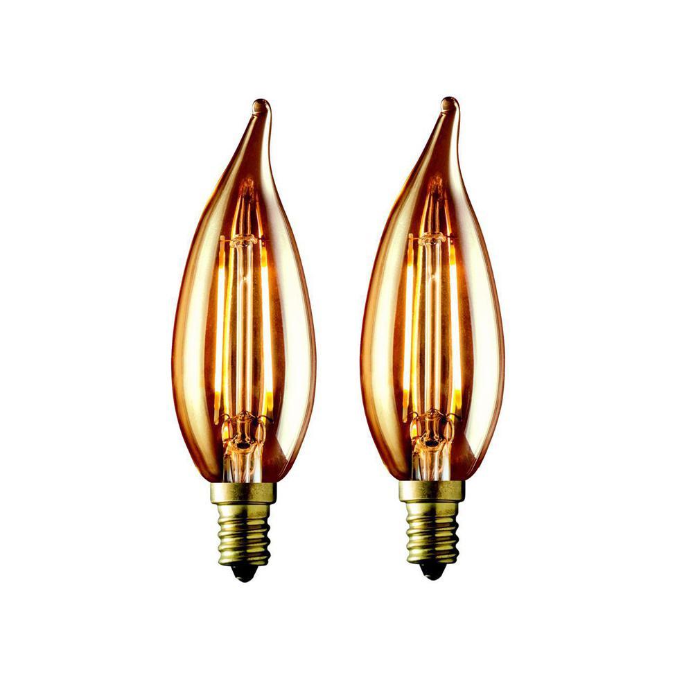 40W Equivalent Warm White CA10 Amber Lens Vintage Candelabra Flame Tip Dimmable LED Light Bulb (2-Pack)