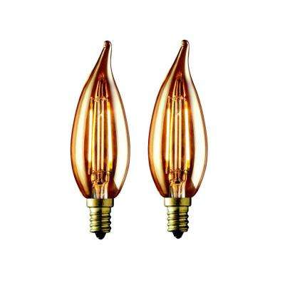 40W Equivalent Warm White CA10 Amber Lens Vintage Candelabra Flame Tip Dimmable LED Light Bulb (2-Pack)