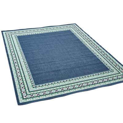 Remington Navy and Green 5 ft. x 8 ft. Bordered Indoor/Outdoor Area Rug