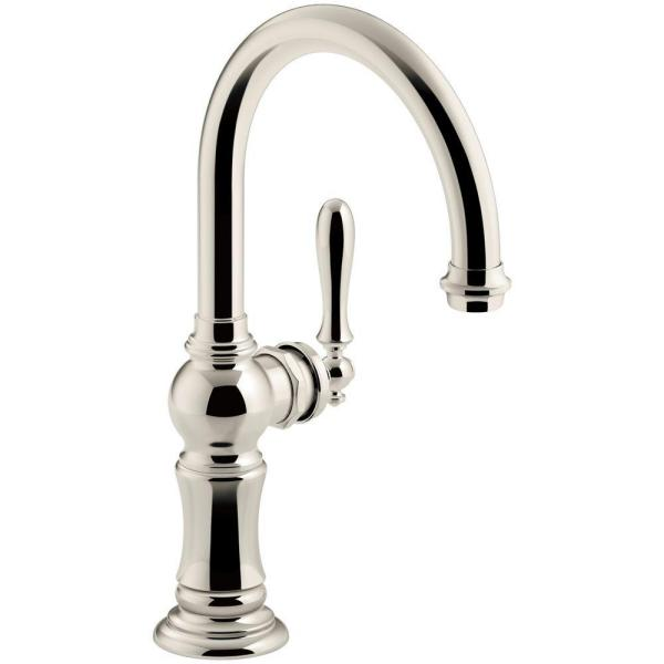 Artifacts Swing Spout Single-Handle Standard Kitchen Faucet in Vibrant Polished Nickel