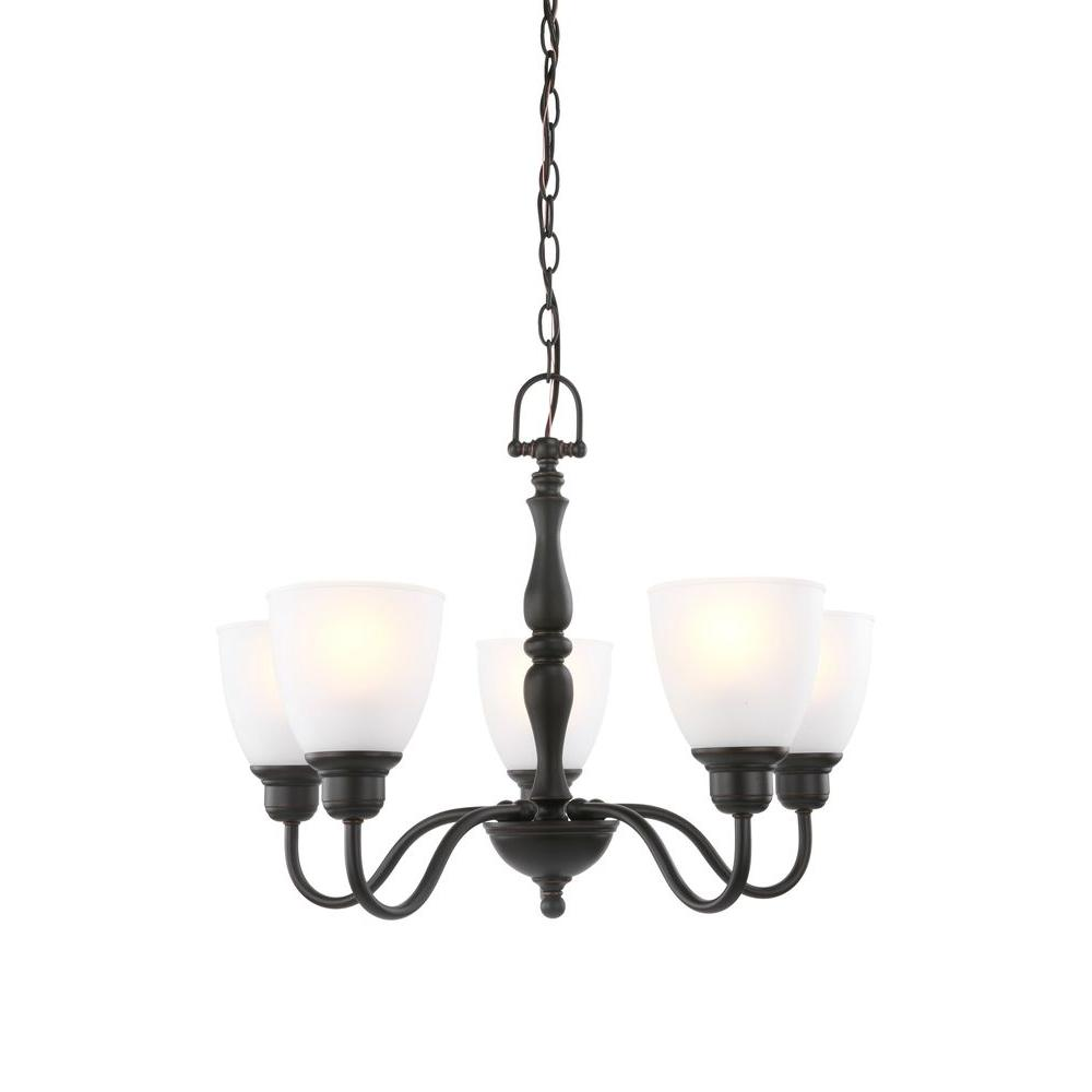 Hampton Bay Woodbridge Collection 5 Light Oil Rubbed Bronze Chandelier