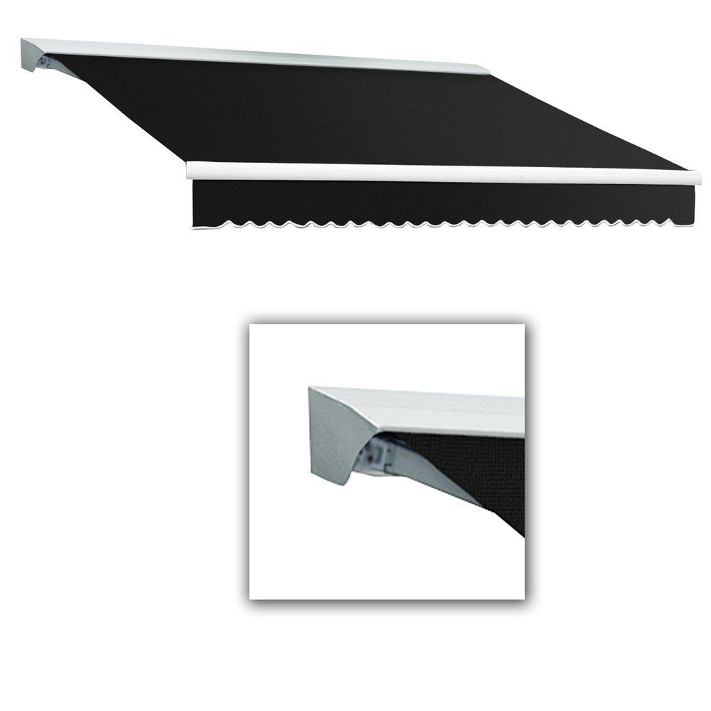 AWNTECH 12 ft. Destin with Hood Left Motor with Remote Retractable Acrylic Awning (120 in. Projection) in Color Black