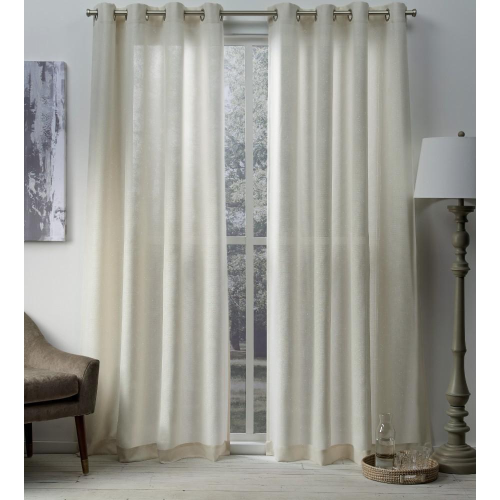 Sparkles 54 in. W x 96 in. L Metallic Fleck Grommet Top Curtain Panel in Linen (2 Panels)