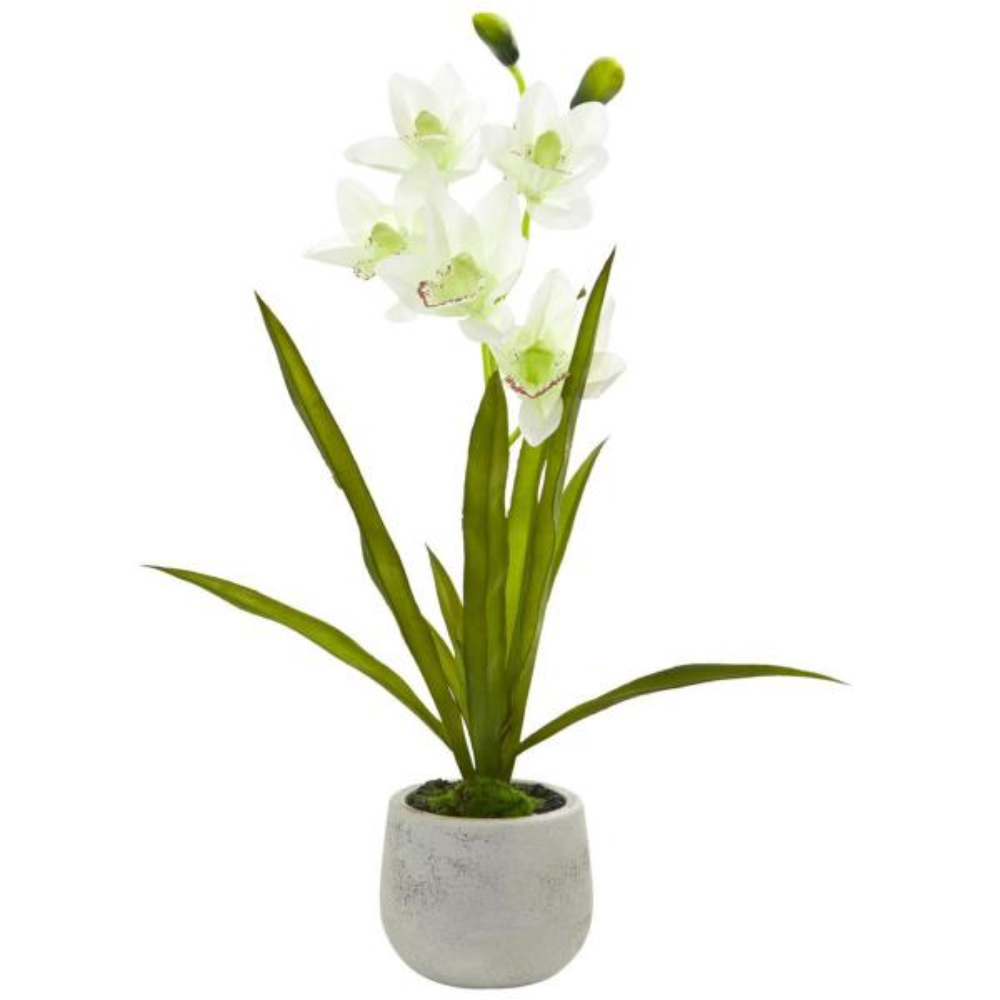 Nearly Natural Indoor Cymbidium Orchid Artificial Arrangement in Vase 4298