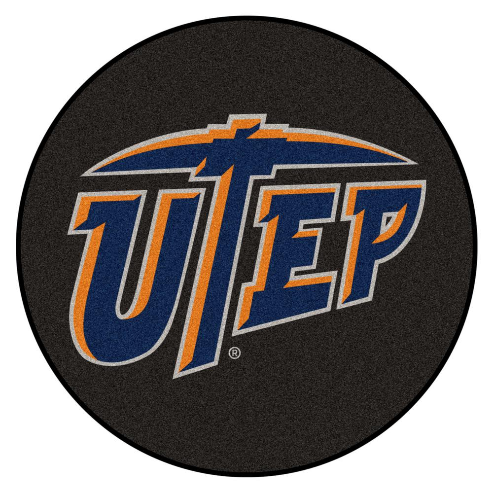 Fanmats Ncaa Utep 27 In Round Puck Mat Area Rug 22354 The Home Depot